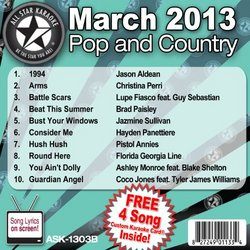 All Star Karaoke March 2013 Pop and Country Hits B (ASK-1303B)