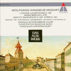 Mozart: Litaniae Lauretanae K. 195 - Missa Brevis K. 275, etc... / Bonney, Mei, von Magnus, Azesberger, Heilmann, Cachemaille; Harnoncourt