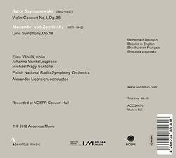 Szymanowski: Violin Concerto No. 1; Zemlinsky: Lyric Symphony