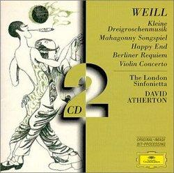Weill: Concerto for violin Op. 12 (1924); Berliner Requiem (1929); Dreigroschenoper Suite; Mahaggony Singspiel; Happy End (singspiel) (1929); Pantomime (1925); Death in the Forest Op. 23 (1927)