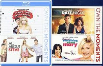 Date Night + Something about Mary & I Love You Beth Cooper + All About Steve Feature Blu Ray Fun Comedy movie Set Combo Edition