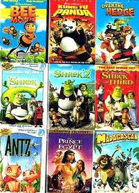 The Best of Dreamworks Animated Collection (9 Pack): Kung Fu Panda (2008) / The Prince of Egypt (1998) / Bee Movie (2007) / Over the Hedge (2006) / Madagascar (2005) / Antz (1998) / Shrek (2001) / Shrek 2 (2004) / Shrek the Third (2007) (Total 13 hrs 30 m
