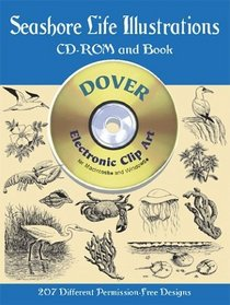 Seashore Life Illustrations (Dover Electronic Clip Art Series) (Book and CD-ROM)