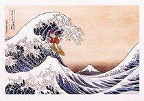 Christmas Parody.Hokusai Parody Christmas Holiday Greeting Cards Envelopes