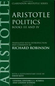 Politics: Books III and IV (Clarendon Aristotle Series)