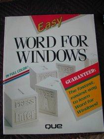 Easy Word for Windows (Easy Series)