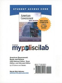 MyPoliSciLab with Pearson eText Student Access Code Card for American Government (standalone) (10th Edition)