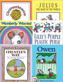 Kevin Henkes 6 Book Set Includes Chester's Way, Julius, the Baby of the World, Chrysanthemum, Wemberly Worried, Lilly's Purple Plastic Purse & Owen