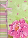 Pink & Green Flower Blank Journal with Pink Bow