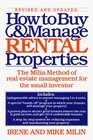 How to Buy and Manage Rental Properties  The Milin Method of Real Estate Management for the Small Investor