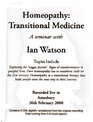 Homeopathy: Transitional Medicine