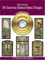 Full-Color Art Nouveau Stained Glass Designs CD-ROM and Book