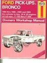 Ford pick-ups  Bronco owners workshop manual