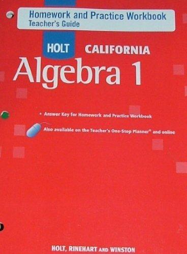 Homework And Practice Workbook Teachers Guide Holt California Algebra 1 Rinehart And Winston Holt Paperback 0030946786